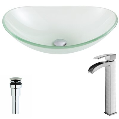 Forza Glass Circular Vessel Bathroom Sink with Faucet Faucet Finish: Brushed Nickel