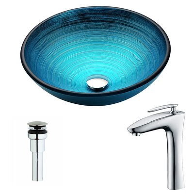 Enti Glass Circular Vessel Bathroom Sink with Faucet