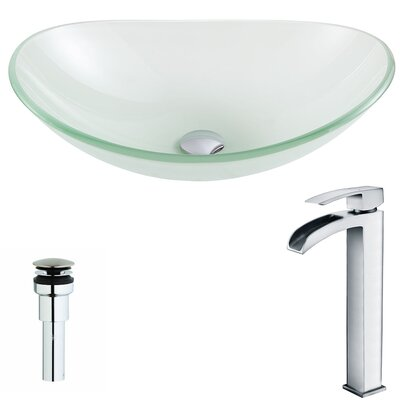 Forza Glass Circular Vessel Bathroom Sink with Faucet Faucet Finish: Polished Chrome