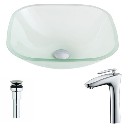 Vista Glass Square Vessel Bathroom Sink with Faucet