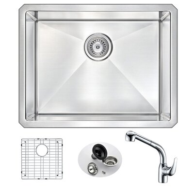 Vanguard 23 x 18 Single Bowl Undermount Kitchen Sink with Faucet Faucet Finish: Chrome