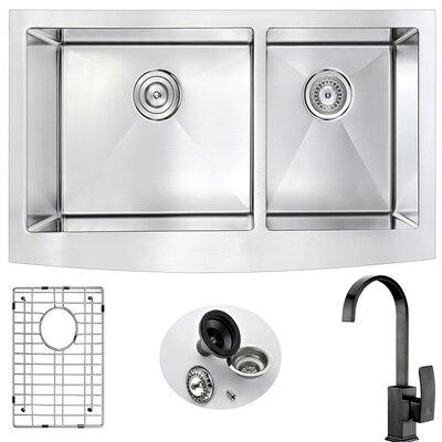 Elysian 35.88 x 20.75 Double Bowl Farmhouse Kitchen Sink with Faucet Faucet Finish: Oil Rubbed Bronze