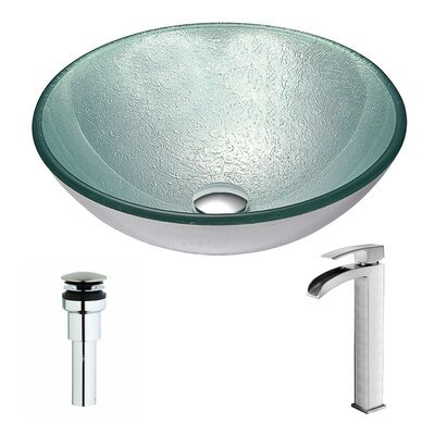 Spirito Glass Circular Vessel Bathroom Sink with Faucet Faucet Finish: Brushed Nickel