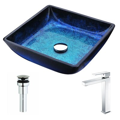 Viace Glass Square Vessel Bathroom Sink with Faucet Faucet Finish: Chrome