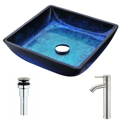 Viace Glass Square Vessel Bathroom Sink with Faucet Faucet Finish: Brushed Nickel