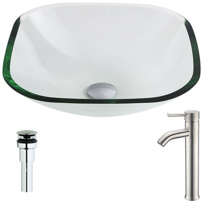 Cadenza Glass Square Vessel Bathroom Sink with Faucet Faucet Finish: Brushed Nickel