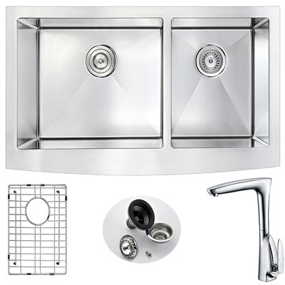 Elysian 35.88 x 20.75 Double Bowl Farmhouse Kitchen Sink with Faucet Faucet Finish: Polished Chrome