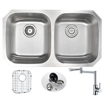 Moore 32.25 x 18.5 Double Bowl Undermount Kitchen Sink with Faucet
