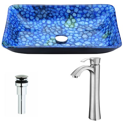 Assai Glass Rectangular Vessel Bathroom Sink with Faucet Faucet Finish: Brushed Nickel