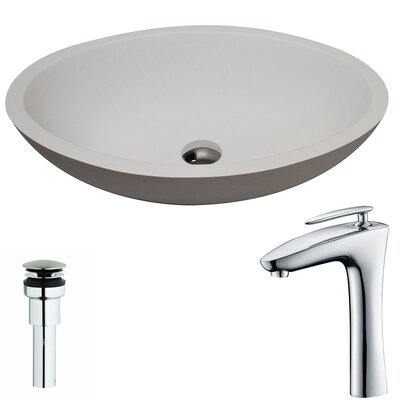 Maine Stone Circular Vessel Bathroom Sink with Faucet