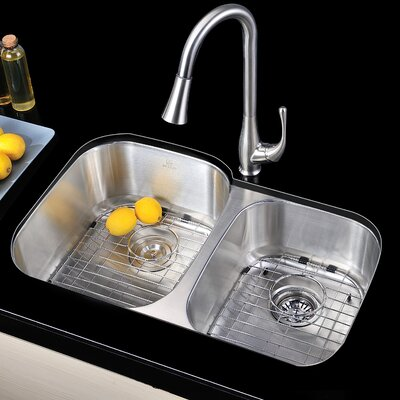 Moore 32 x 20.75 Double Bowl Undermount Kitchen Sink with Drain Assembly