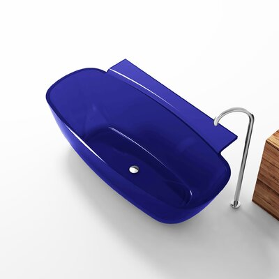 Vida 62 x 32 Freestanding Soaking Bathtub Color: Regal Blue