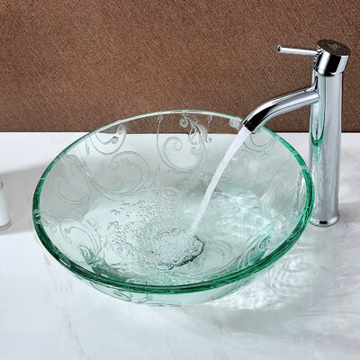 Vieno Deco-Glass Circular Vessel Bathroom Sink