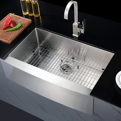 Elysian 35.88 x 20.75 Single Bowl Farmhouse Kitchen Sink with Drain Assembly