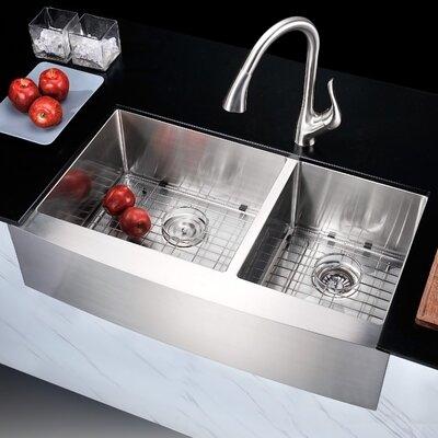 "Elysian 35.88"" x 20.75"" Double Bowl Farmhouse Kitchen Sink with Drain Assembly K-AZ3620-3A"