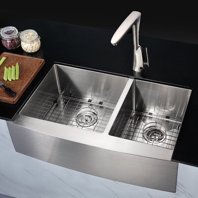 Elysian 32.88 x 20.75 Double Bowl Farmhouse Kitchen Sink with Drain Assembly
