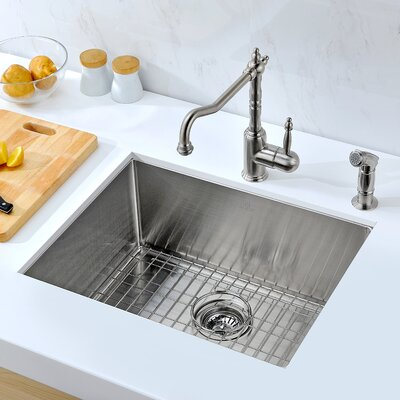 Vanguard 23 x 18 Single Bawl Undermount Kitchen Sink with Drain Assembly