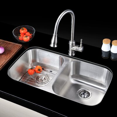 Moore 32.25 x 18.5 Double Bowl Undermount Kitchen Sink with Drain Assembly