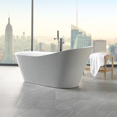 Arges 70.8 x 32 Freestanding Soaking Bathtub