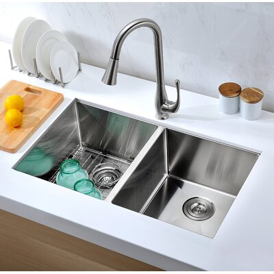 Vanguard 32 x 18 Double Bowl Undermount Kitchen Sink with Drain Assembly