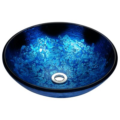 Stellar Series Glass Circular Vessel Bathroom Sink Sink Finish: Blue Blaze