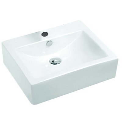 Vitruvius Series Vitreous China Rectangular Vessel Bathroom Sink with Overflow