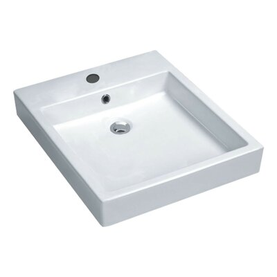 Deux Series Vitreous China Rectangular Vessel Bathroom Sink with Overflow