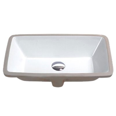Rhodes Series Vitreous China Rectangular Undermount Bathroom Sink with Overflow