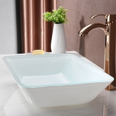 Broad Glass Rectangular Vessel Bathroom Sink