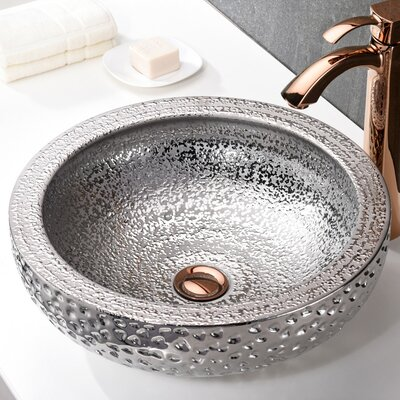 Regalia Series Circular Vessel Bathroom Sink Sink Finish: Speckled Silver
