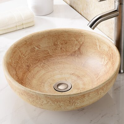 Earthen Glass Circular Vessel Bathroom Sink