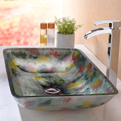Voce Glass Rectangular Vessel Bathroom Sink
