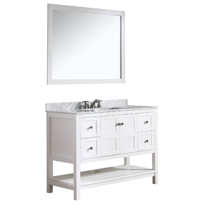 Cline 48 Single Bathroom Vanity Set with Mirror Base Finish: White