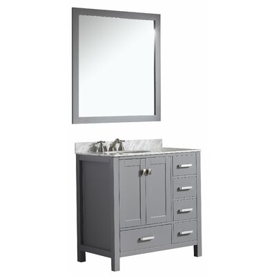 Chateau 36? Single Bathroom Vanity Set With Mirror Base Finish: Gray