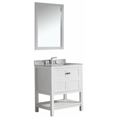 Cline 30 Single Bathroom Vanity Set With Mirror Base Finish: White