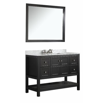 Cline 48 Single Bathroom Vanity Set with Mirror Base Finish: Espresso