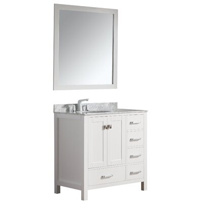 Deanne 36 Single Bathroom Vanity Set With Mirror Base Finish: White