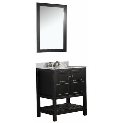Cline 30 Single Bathroom Vanity Set With Mirror Base Finish: Espresso