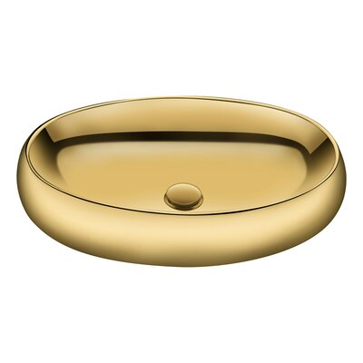 Prussian Vitreous China Oval Vessel Bathroom Sink Sink Finish: Gold