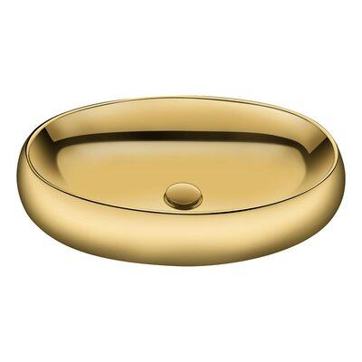 Prussian Series Ceramic Oval Vessel Bathroom Sink Sink Finish: Gold