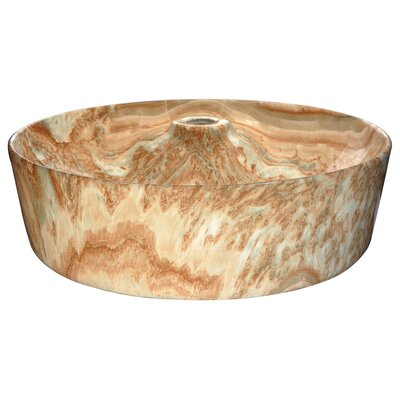 Marbled Series Vitreous China Circular Vessel Bathroom Sink Sink Finish: Sand