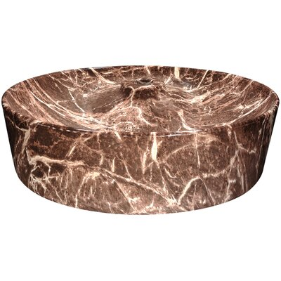 Marbled Series Ceramic Circular Vessel Bathroom Sink Sink Finish: Chocolate