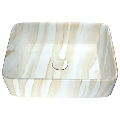 Marbled Series Vitreous China Rectangular Vessel Bathroom Sink Sink Finish: Cream