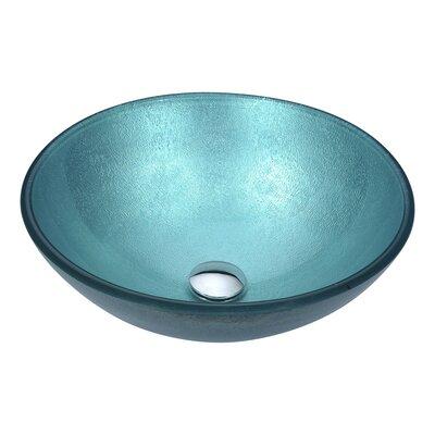 Posh Glass Circular Vessel Bathroom Sink Sink Finish: Coral Blue