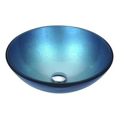 Posh Circular Vessel Bathroom Sink Sink Finish: Silver Blue