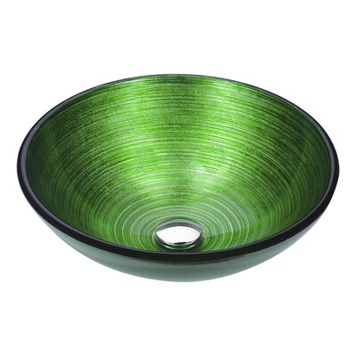 Posh Glass Circular Vessel Bathroom Sink Sink Finish: Brushed Green