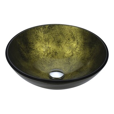 Posh Glass Circular Vessel Bathroom Sink Sink Finish: Verdure Gold