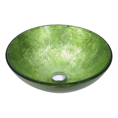 Posh Glass Circular Vessel Bathroom Sink Sink Finish: Golden Green