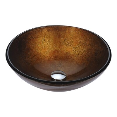 Posh Glass Circular Vessel Bathroom Sink Sink Finish: Amber Gold