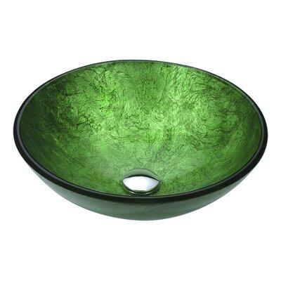 Posh Glass Circular Vessel Bathroom Sink Sink Finish: Celestial Green